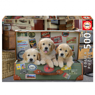 EDUCA Puslespil Puppies in the Luggage - 500 brikker
