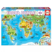 EDUCA 150 Briks Puslespil World Map Monuments