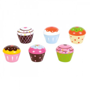 Small Wood Cupcakes i Træ 6stk