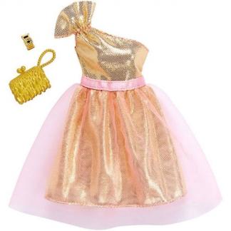 Barbie Dukketøj Guld Balkjole Samt Pink Tylskørt Kvaliets Tøj Og