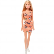 Barbie Basis Dukke med Orange Kjole