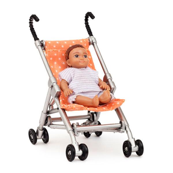 Lundby Paraplyklapvogn med baby. Sjovt tilbehør til dukkehuset