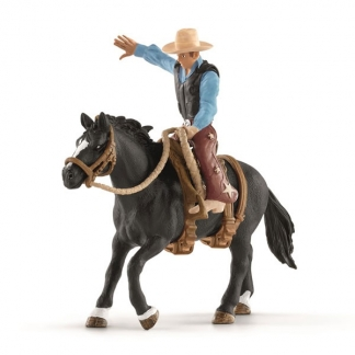 Schleich Saddle bronc riding med cowboy