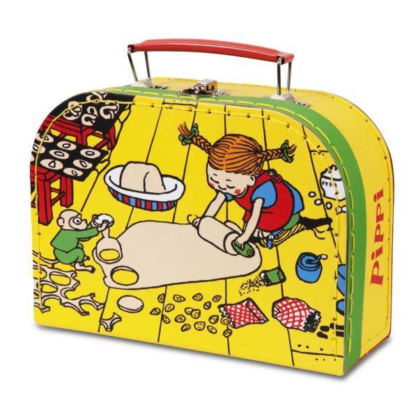 Pippi Langstrømpe kuffert til børnene. Perfekt til legetøj m.m. Kufferten måler 20cm.